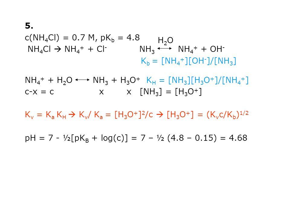5. c(NH4Cl) = 0.7 M, pKb = 4.8. NH4Cl  NH4+ + Cl- NH3 NH4+ + OH- Kb = [NH4+][OH-]/[NH3]